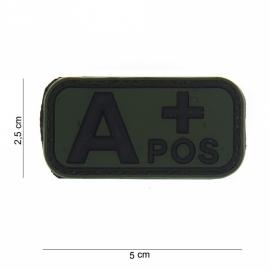Embleem Bloedgroep A+ positief - GROEN / ZWART - Klittenband - 3D PVC - 5 x 2,5 cm.