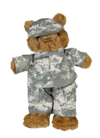 Teddybeer klein 33 cm. met ACU camo uniform