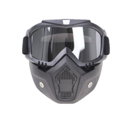 Airsoft masker Half face met bril - grijs glas - ZWART