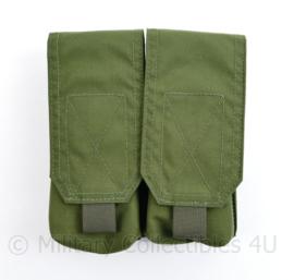 Defensie en Korps Mariniers Warrior Assault Systems  Double Mag pouch groene Molle tas double magazijn pouch M4 C7 - 16 x 15 x 6 cm - nieuw met kaartje eraan - origineel