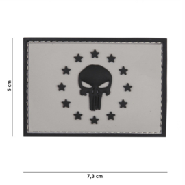 Embleem 3D PVC met klittenband - Punisher EU - grijs - 7,3 x 5 cm.