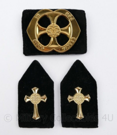 Defensie baret en kraag insigne set Legerpredikant - 3 delige set - origineel
