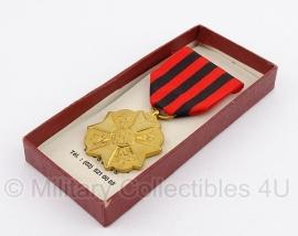 """Belgische """"burgerlijk ereteken"""" goud medaille met doosje - Origineel"""