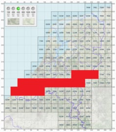 KL Nederlandse leger topografische stafkaart 1:50000 - nr. 40 t/m 49 - op rol - 60 x 60 cm - origineel
