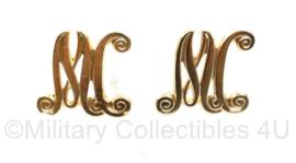Defensie kraagspiegel insigne paar MC Militaire Colonne - 3 x 3 cm - origineel