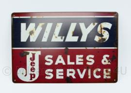 Metalen plaat Willys Jeep Sales & Service Willys MB  - 30 x 20 cm.