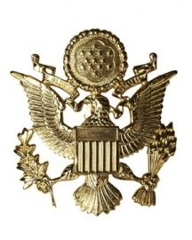 US visor cap insignia - Officer goud