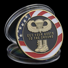 US Army Paratroopers coin - Get your boots to the ground - 40 mm diameter