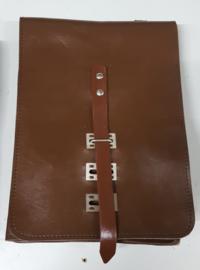 Kaartentas bruin - 25x20 cm - glad leer - origineel
