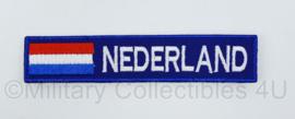 Naamlint Nederland - met klittenband - wit op blauw - 13,5 x 3 cm - nieuw gemaakt