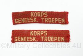 MVO straatnaam paar Korps Geneeskundige Troepen - 9 x 2 cm - origineel