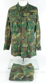 US Army BDU jacket and trouser - POPLIN Woodland - vroege versie 1980 ripstof - matching set - maat S/regular - origineel