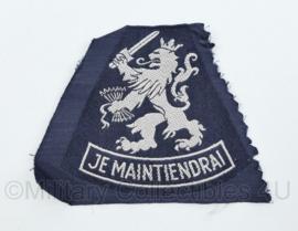 Nederlandse Je maintiendrai KL of KLU mouwleeuw ongevouwen blauw - 10 x 8 cm -  origineel