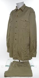Koninklijke Marine khaki dik overhemd lange mouw met broek - maat overhemd 46 en broek 36 - origineel