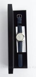 Ministerie van Financien horloge in geschenkdoos - donkerblauw bandje - groot horloge - merk Olympic - origineel