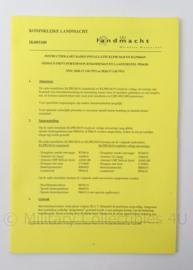 KL Landmacht Instructiekaart Radioinstallatie PRC6618 en PR6619 - IK005100 - afmeting 21 x 15 cm - origineel