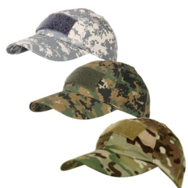Baseball cap Tactical + velcro - in 5 camouflages te bestellen!