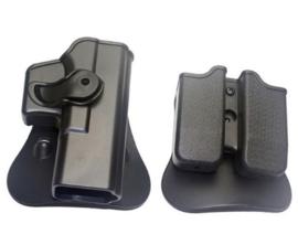 Glock 17 holster met Rotatiemodule & magazijntas set