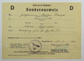 WO2 Duits dokument Sonderausweis 1941 - afmeting 21 x 15 cm - origineel