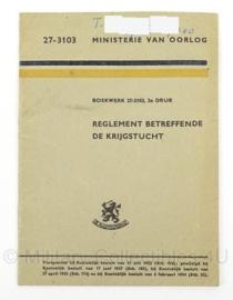 MVO handboek Reglement betreffende de Krijgstucht 1954 - boekwerk 27/3103 - 11 x 15,5 cm - origineel