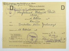 WO2 Duits dokument Sonderausweis 1944 - afmeting 21 x 15 cm - origineel