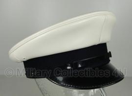 Politie platte pet - zonder insigne  - glad wit - maat 56 of 57 cm. - origineel