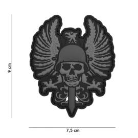 Embleem 3D PVC met klittenband - Skull & Eagle 7,5 x 9  cm.