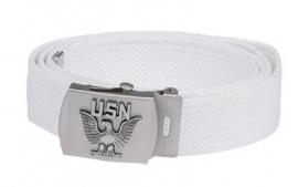 Leger model Broekriem USN US Navy wit met zilver metalen slot - nieuw gemaakt