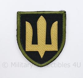 Camouflage Ukrainian Army patch emblem Flag Cossack Sables Yellow on Black, with green edge - met klittenband  - 8,5 x 7 cm - origineel