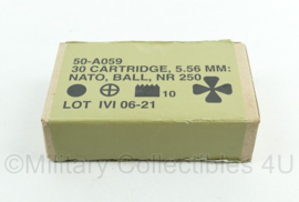 Diemaco Nato 5.56mm NATO ball 30 cartridge doosje leeg - 10 x 6 x 3 cm - origineel