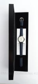 Ministerie van Financien horloge in geschenkdoos - donkerblauw bandje - klein horloge - merk Olympic - origineel