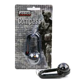Karabijnhaak met kompas en thermometer - zwart