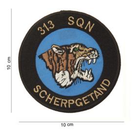 Embleem stof Luchtmacht 313 Squadron Scherpgetand 10 cm. diameter