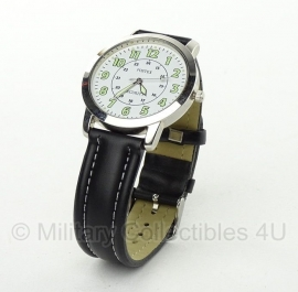 Retro Security watch horloge - zwarte  lederen band