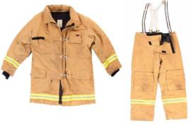 Brandweer jas en broek - US Style bruin met gele reflectoren en snelsluiting - Maat 3 = 170 tm. 188 lengte en 112 tm. 120 borst - origineel