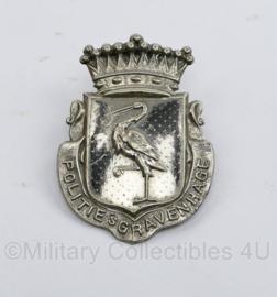 Politie 's-Gravenhage pet embleem metaal - vroeg model - 7,5 x 5,5 cm - origineel