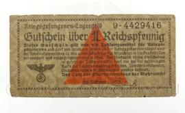 WO2 Duits Gutschein uber 1 Reichspfennig kriegsgefangenen Lagergeld - origineel