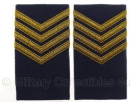 KLU Koninklijke Luchtmacht schouderstukken blauw met goud - Sergant-Majoor - origineel