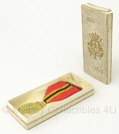 Belgische koning leopold II medaille met doosje - Origineel
