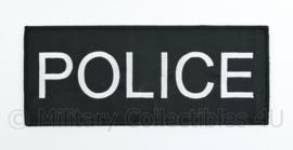 Politie POLICE rugstrook  -  met klittenband - 24,5 x 10 cm. wit op zwart