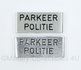 Nederlandse gemeentepolitie metalen insignes voor over de epauletten - parkeerpolitie - origineel