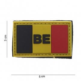 "Uniform landsvlag Belgie ""BE"" embleem 3D PVC  -  klittenband - 5 x 3 cm klein model"