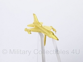 KLU Koninklijke Luchtmacht straaljager speldje goud - 2,5 x 2 cm - origineel