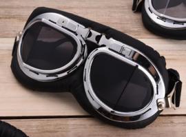 Piloten bril of brommer bril - chroom frame met Smoke zwarte glazen