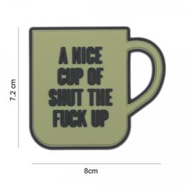 Embleem A nice cup of shut the fuck up - groen - met klittenband - 3D PVC - 7,2 x 8 cm