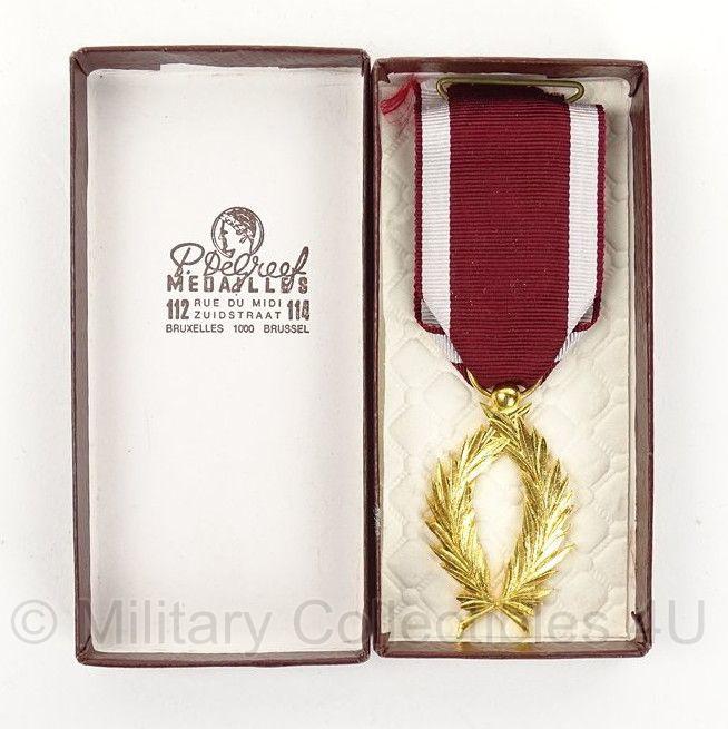 """Belgische """"Palm Kroonorde"""" Gouden Palm medaille in doosje - origineel"""