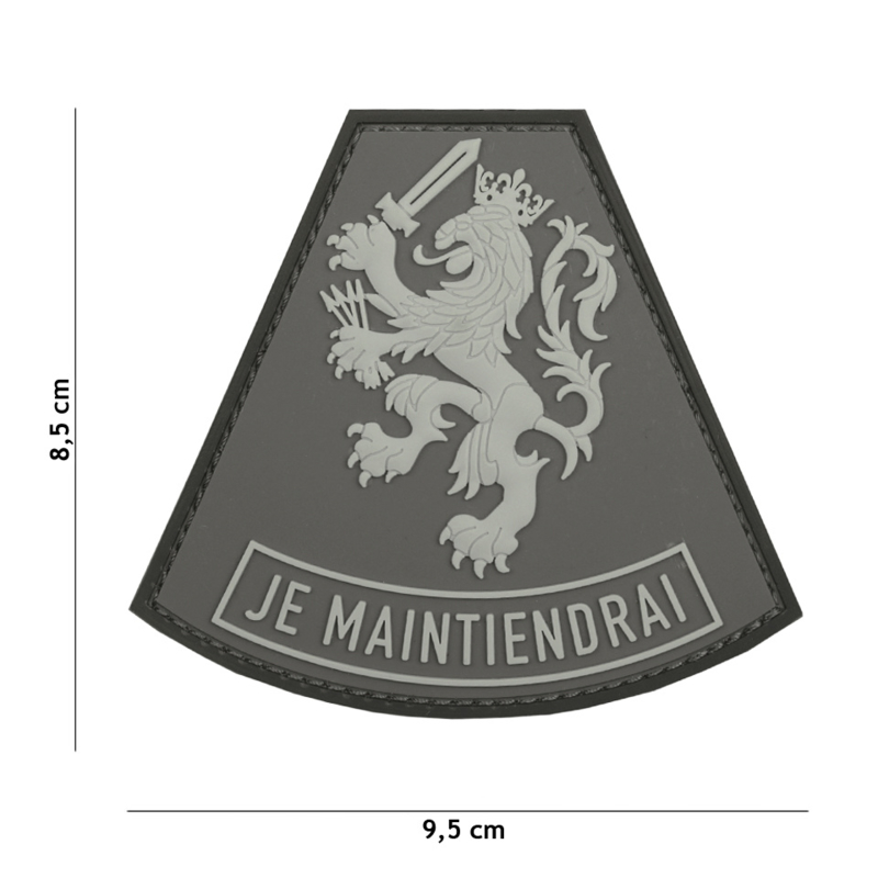 Embleem 3D PVC met klittenband - Nederland  JE MAINTIENDRAI Grey- 9,5 x 8,5  cm.