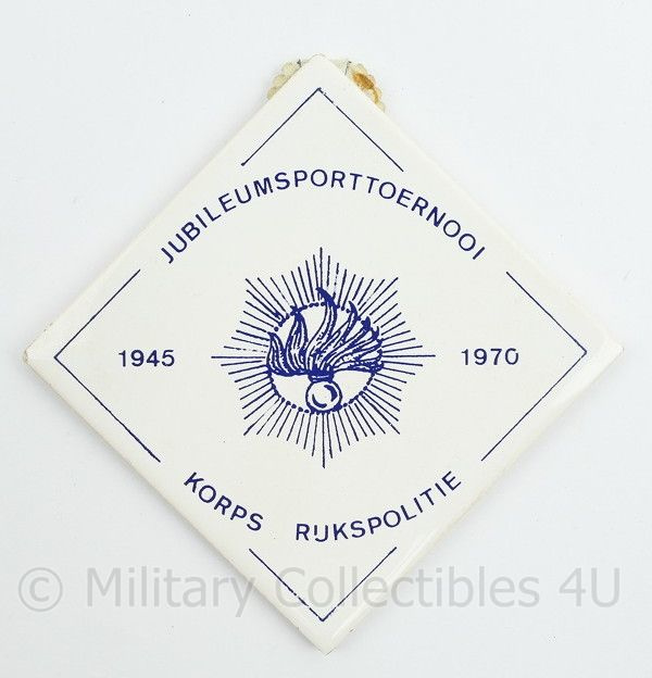 Wandbord tegeltje Jubileumsporttoernooi  Korps Rijkspolitie 1940 1970 - 10 x 10 cm - origineel