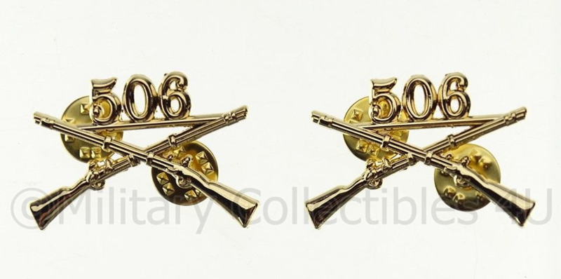 US officer Infantry collar insignia 506th PIR Parachute Infantry Regiment
