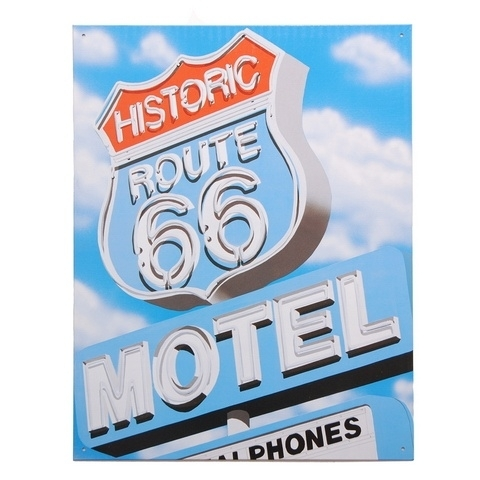 metalen plaat groot route 66 motel